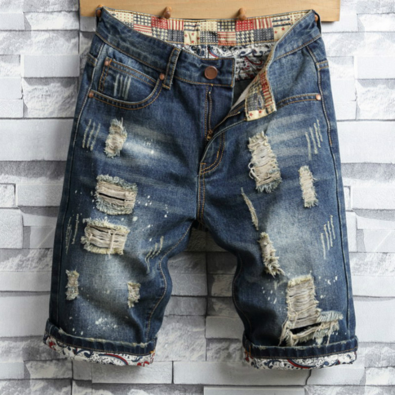 2017 New Summer Stripe Zipper Denim Jeans Shorts Men Hip Hop Straight Holes Ripped Mens Fashion Slim Fit Casual Hole Short Pants fashion mens male pants brand zipper jeans men hip hop pants slim hole patch casual jeans fashiontrouser for men free shipping