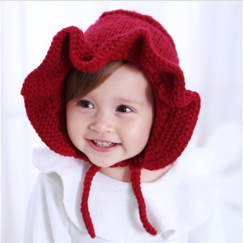 Lotus Leaf Edge Baby Wool Cap Lace Baby Warm Weather Knitted Hat