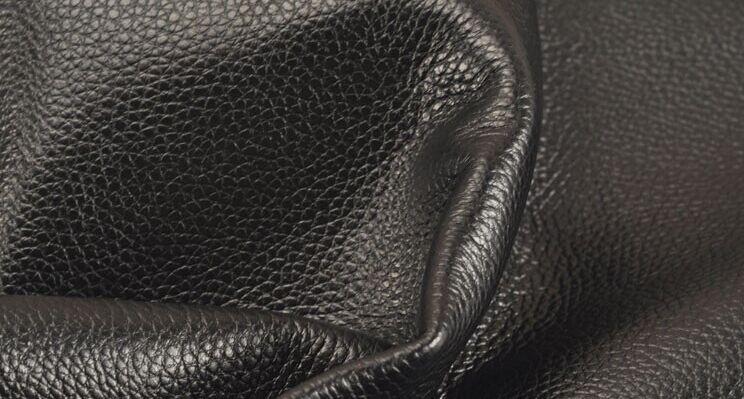 Noir doux véritable lichi texture cuir de vache pièce entière - 2