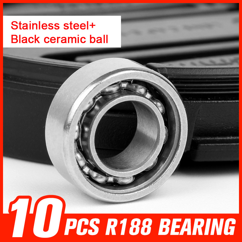 10pcs R188 Stainless Steel Black Ceramic Ball Bearings for High Speed Hand Spinner Luminous Hand Tri Spinners Tool Accessories tri fidget hand spinner triangle metal finger focus toy adhd autism kids adult toys finger spinner toys gags