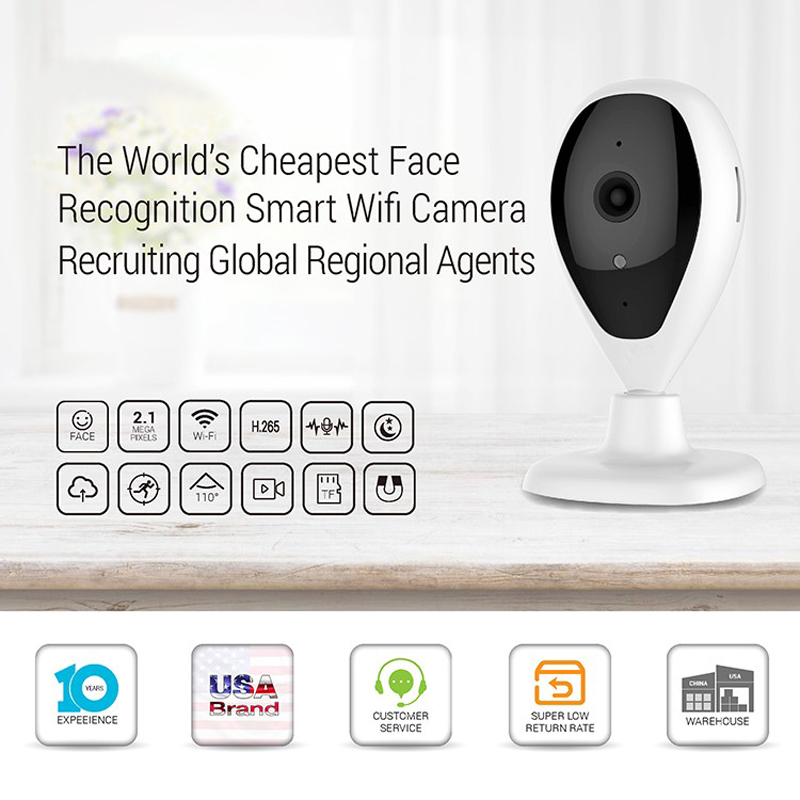 2MP 1080P Smart Home Security Indoor P2P Face Recognition Wireless WiFi CCTV IP Camera With Cloud
