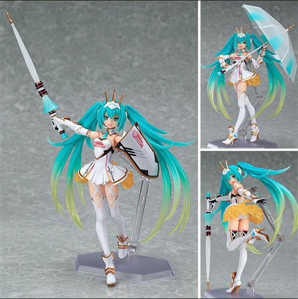 Anime Hatsune Miku Figure Figma SP-060 014 024 Racing Miku 2015 Ver.PVC Action Figure Collectible Model Kids Toys Doll 14CM