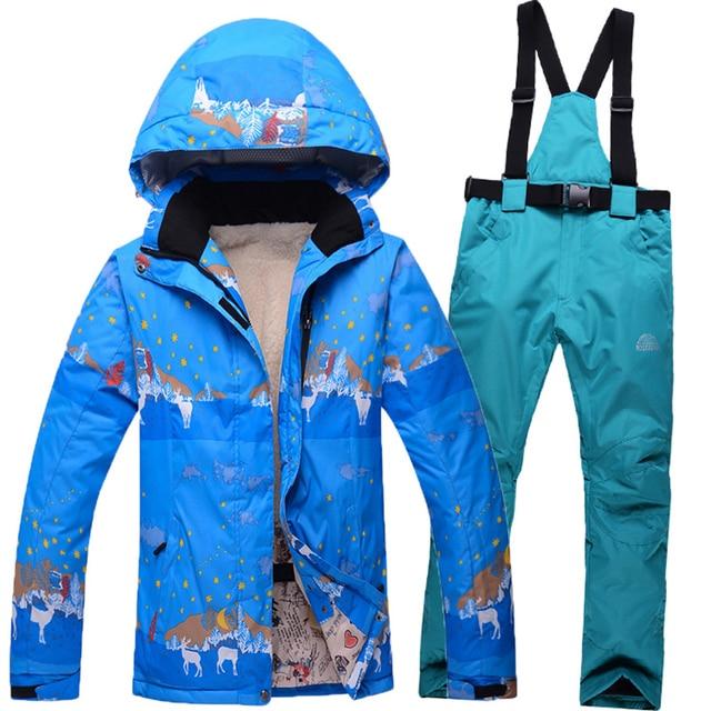 2d0223791f25 ski suit female deer design snow skiing jackets women thicken warm ...
