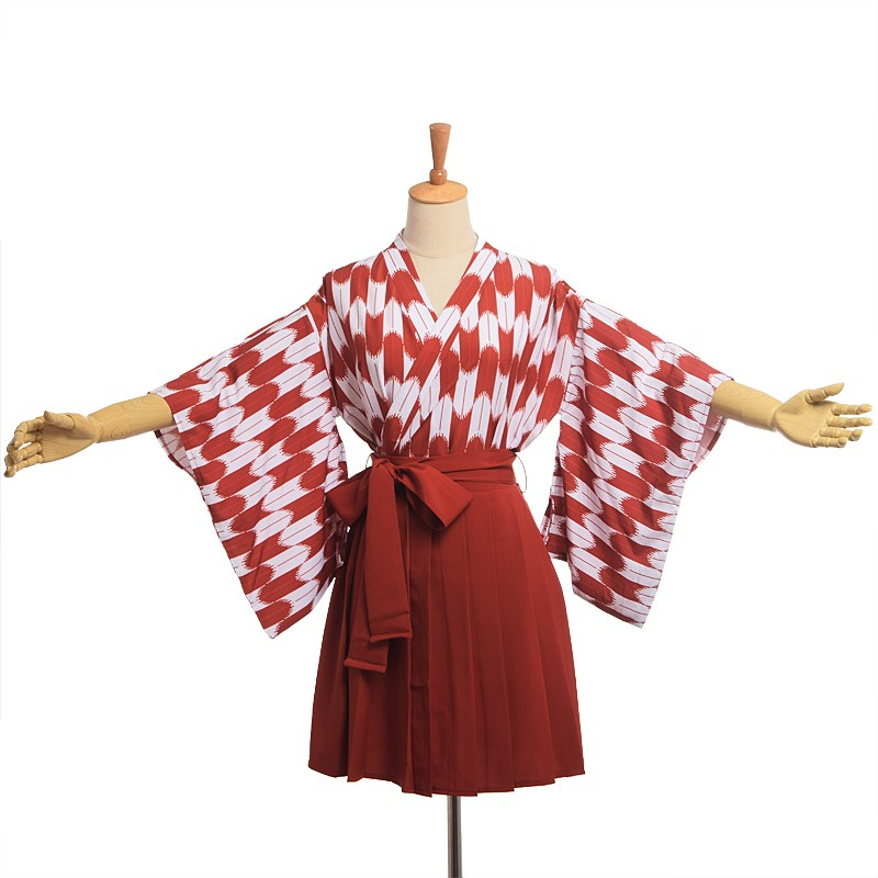 Japanese Kimono Hakama Outfit Cute Women Haori Top Pleated Koinobori Set Cosplay Costume