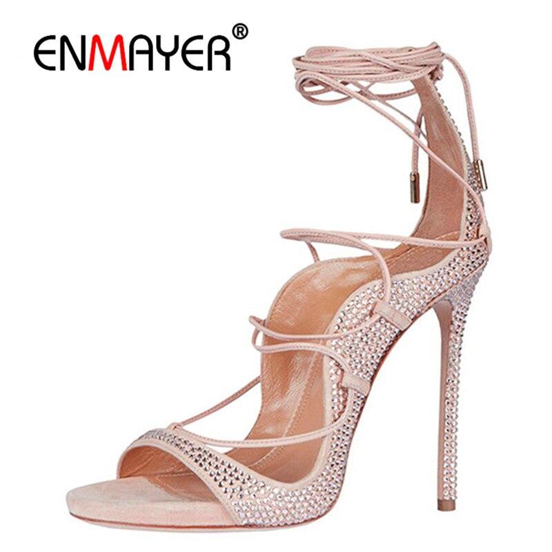 ENMAYER/обувь на шнуровке с открытым носком, летние сандалии гладиаторы, туфли лодочки на очень высоком каблуке, светло розовые вечерние женски