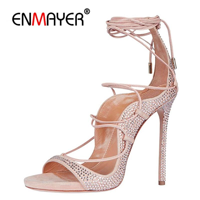 ENMAYER Schnürschuhe mit offener Spitze Gladiator Sommer Sandalen Pumps Extreme High Heels Hellrosa Farben Party Schuhe Damen