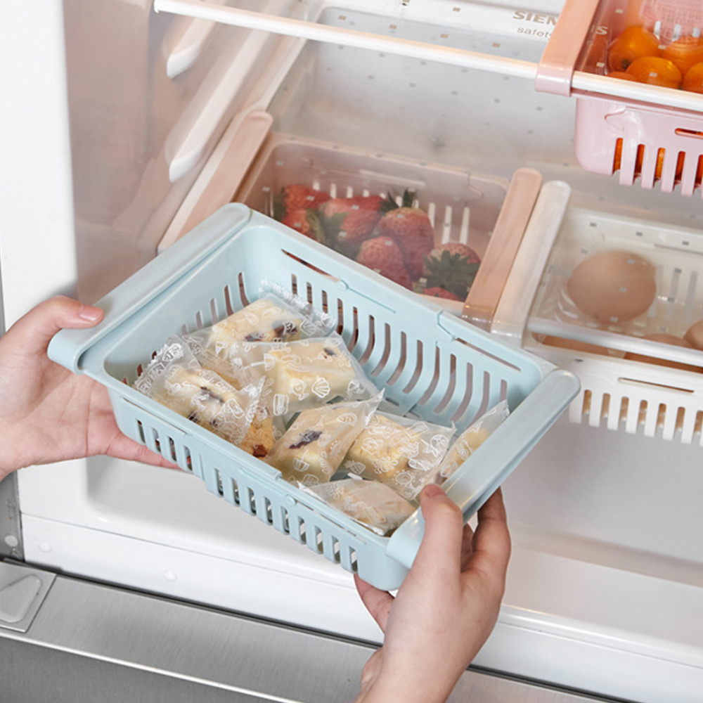 Adjustable Stretchable Refrigerator Organizer Drawer Basket Refrigerator Pull-out Drawers Fresh Spacer Layer Storage Rack