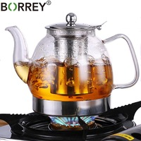 BORREY Heat Resistant Glass Teapot Chinese Teapot With Stainless Steel Filter Flower Teapot Gas Stove Induction Cooker Kettle
