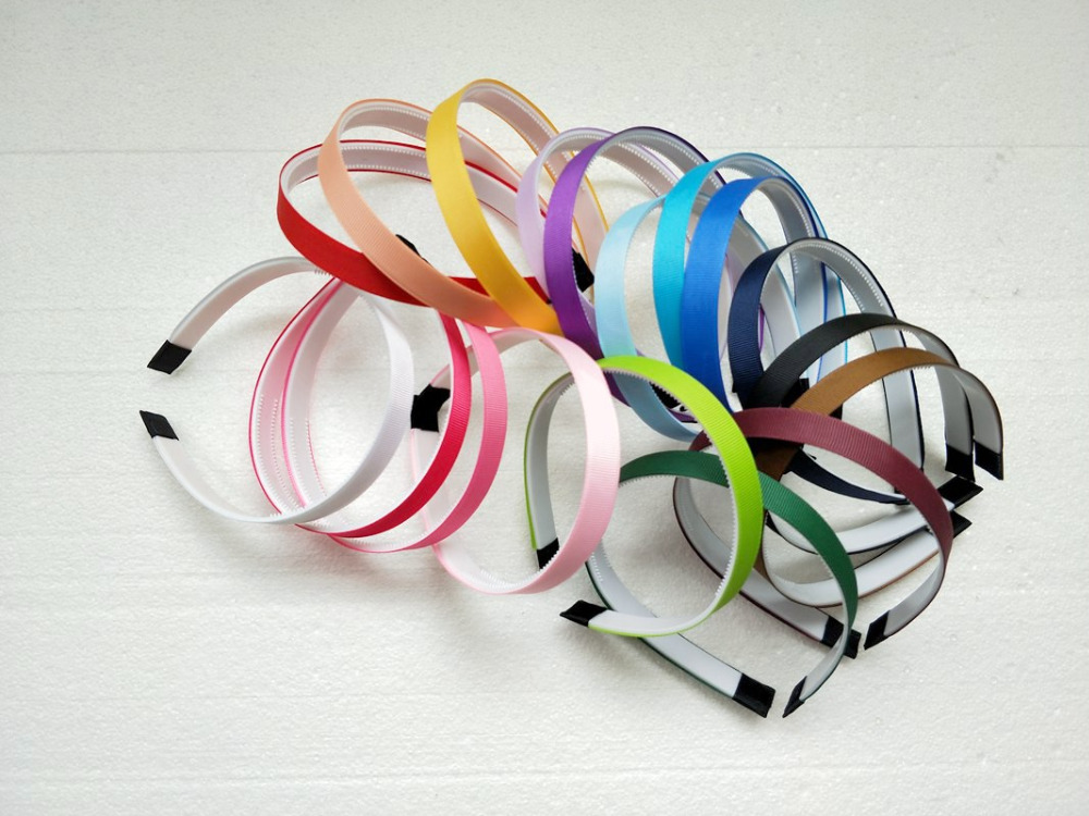 100pcs 1 5cm Wrap Covered ribbon Plastic hair hoop DIY hair accessory hair bands woman girl