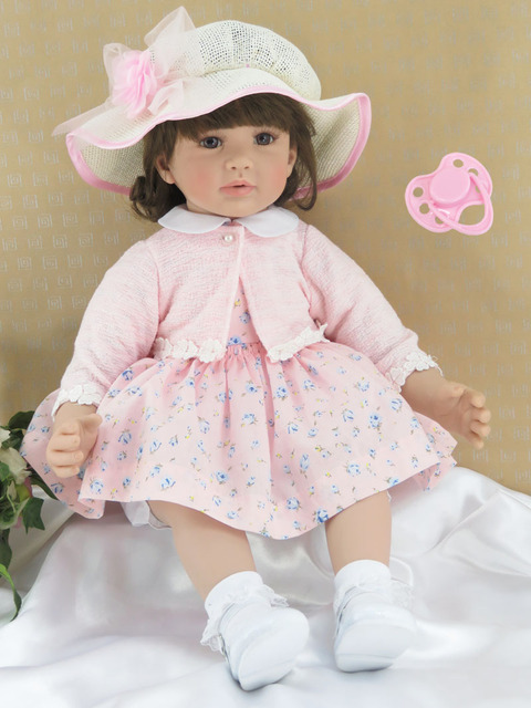 60cm Silicone Reborn Baby Girl Doll Toy For