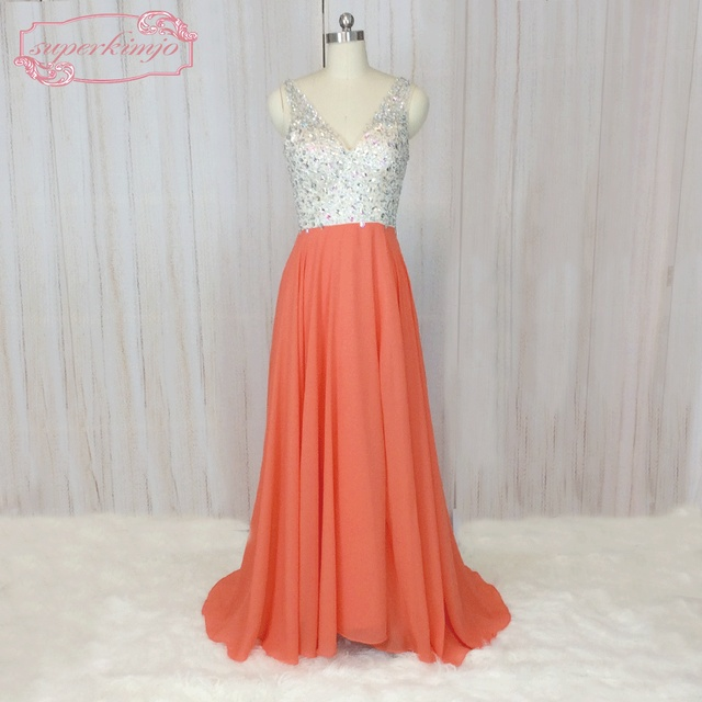 SuperKimJo Beaded Prom Dresses Long V Neck Orange Elegant Formal Dresses  for Women Chiffon Evening Dress Vestido De Festa 0007cece57ce
