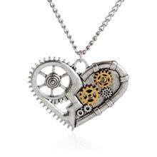 Retro Mechanical Gear Rivet Steampunk Antique Heart Pendant Necklace Chain Necklace 2016 Fashion Jewelry For Women 54*42MM