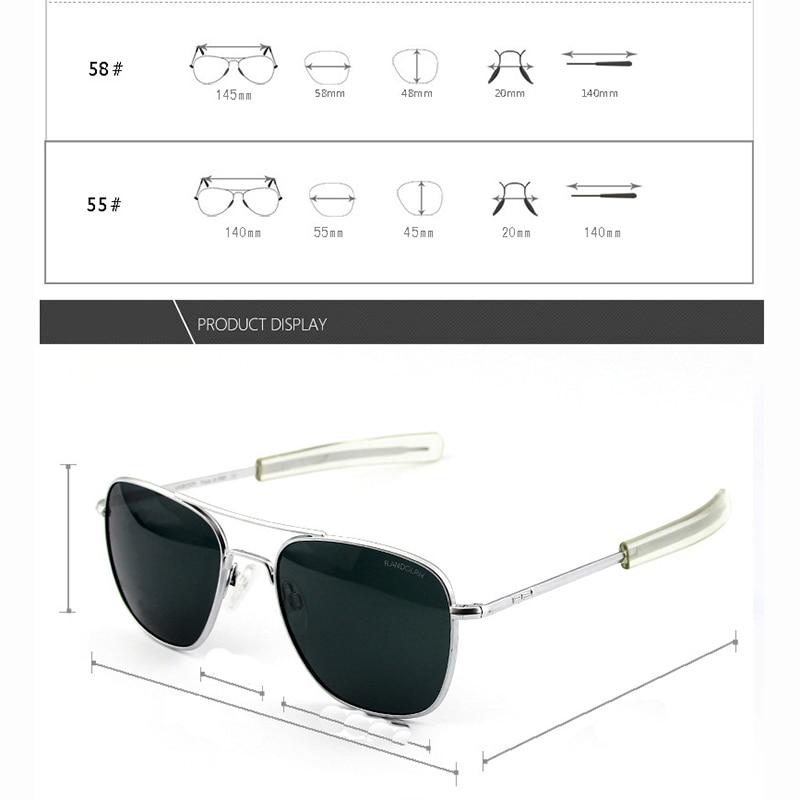 Image 3 - Pilot USA.RE Sunglasses Men Top Quality Brand Designer RANDOLPH AGX Tempered Glass Lens AO Sun Glasses Male YQ1006-in Men's Sunglasses from Apparel Accessories