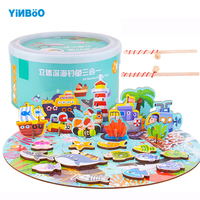Baby wooden toys Models & Building Toys fishing children's toys magnetic fishing set of marine life kids fishing game