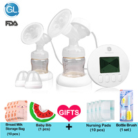 GL Electric Breast Pump Double Baby Breast Feeding Milk Extractor Pump Strong Suction Breast Enlargement Pumps Infant 2 Bottles
