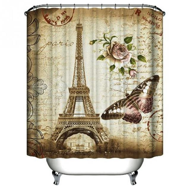 Paris Eiffel Tower Waterproof Kids Bathroom Shower Curtain Retro ...