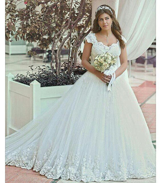Vestido de noiva Saudi Arabia Lace Wedding Dresses 2016 Cap Sleeves ...