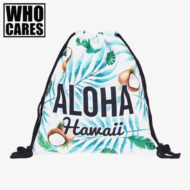 aloha hawall coconut 3D Printing backpack 2017 Who Cares Fashion Drawstring bag New school mochila backpacks for teenage girls deanfun emoji backpack 2016 new fashion women backpacks 3d printing bags drawstring bag for men s79