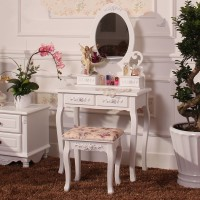 Hot Elegant Home Furniture Dresser Table With Mirror Without Makeup Stool White Dressing Table For Women