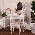Hot Elegantes Muebles Para El Hogar Mesa de Tocador Con Espejo Sin Heces de Maquillaje Tocador Blanco Para Las Mujeres del Diseño del Dormitorio Moderno