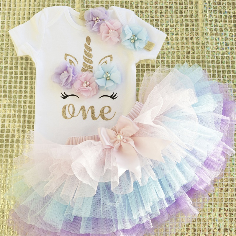 Little Princess Flower Unicorn Dress For Baby Girls 1 Year Birthday Dress Cake Smash Outfits Infant 12 Months  Christening Gown(China)