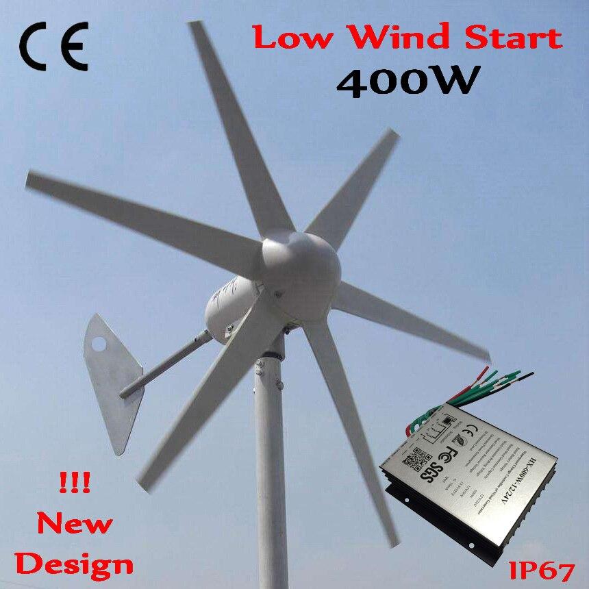 Générateur d'éolienne 400 W CE approuvé démarrage à faible vent 12 V 24 V système de moulin à vent 400 W + 600 W contrôleur de générateur de vent étanche