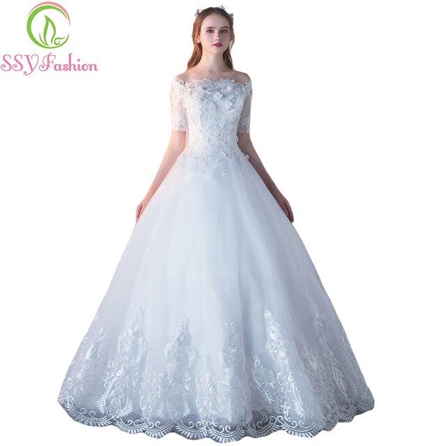 SSYFashion Neue Luxus Hochzeitskleid Der Braut Heiratete Boot ...