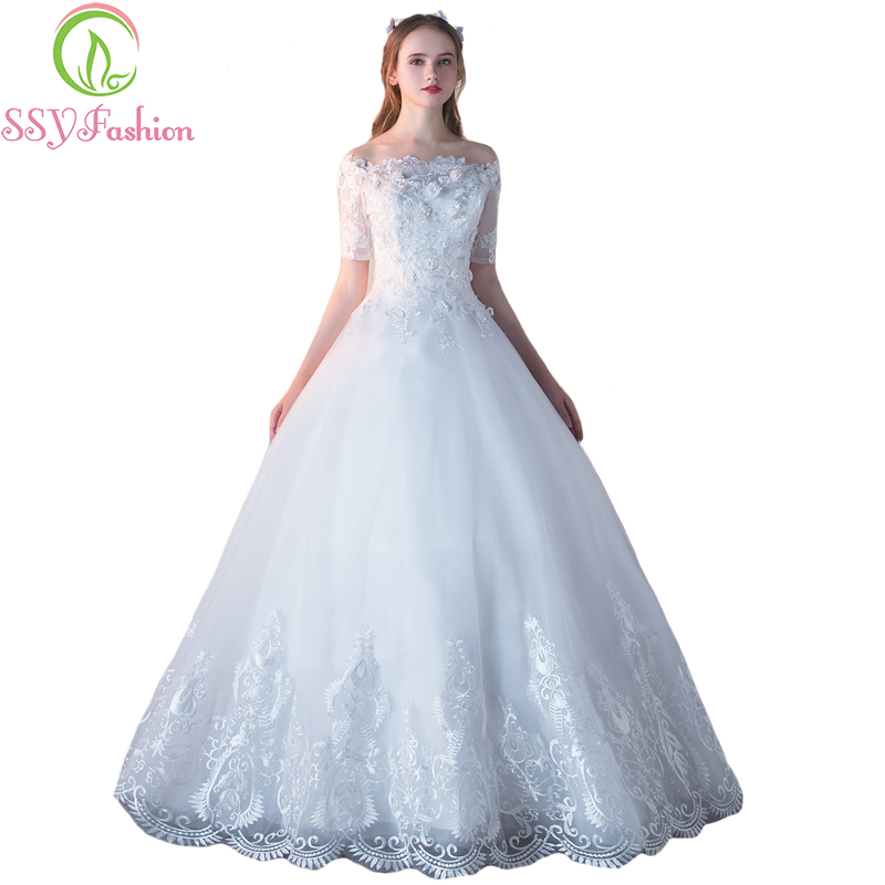 SSYFashion New Luxury Wedding Dress The Bride Married Boat Neck Short Sleeves Sweet Lace Flower A-line Floor-length Wedding Gown