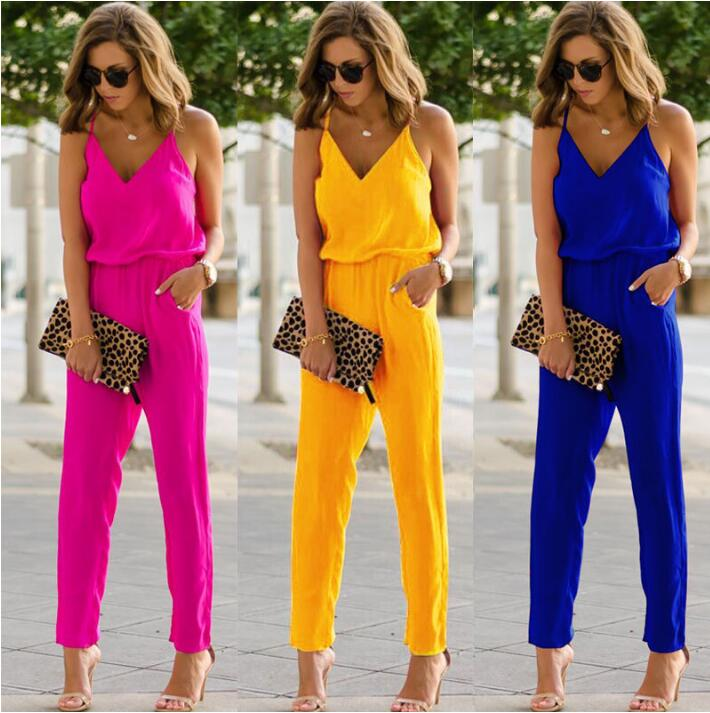 High Street Summer Vacation Fashion Casual Women Sexy Strap V Neck Solid Empire Slim Sleeveless Bodycon Jumpsuit Romper Trousers in Jumpsuits from Women 39 s Clothing