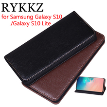 RYKKZ Luxury Leather Flip Cover For Samsung Galaxy S10 Lite 5.8 Mobile Stand Case Plus Phone