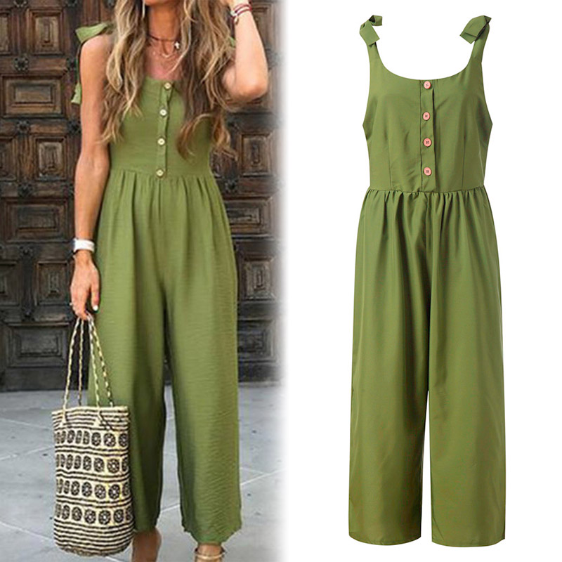 V-Neck Green Simple   Jumpsuit   Women Casual Summer with Buttons Shoulder Belt Bandage   Jumpsuit   NYZ Shop