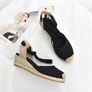 Image 4 - 5 סנטימטר עקב טריז נשים 2019 קיץ נעלי בד סנדלי