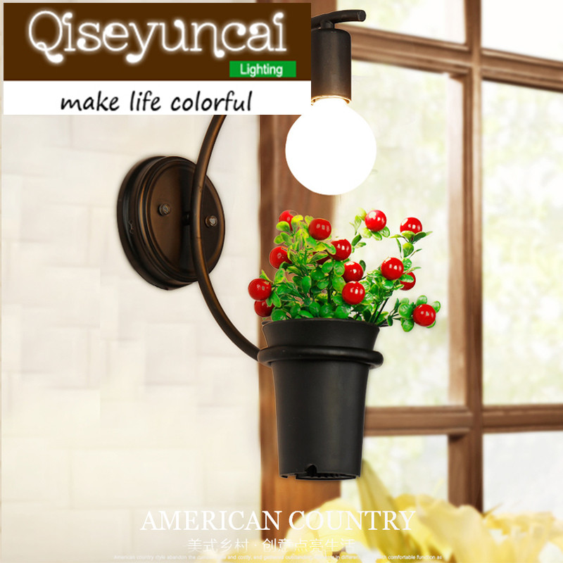 Qiseyuncai American garden retro restaurant plant wall lamp coffee bar aisle flower pot wall bedroom living room pot wall lampQiseyuncai American garden retro restaurant plant wall lamp coffee bar aisle flower pot wall bedroom living room pot wall lamp