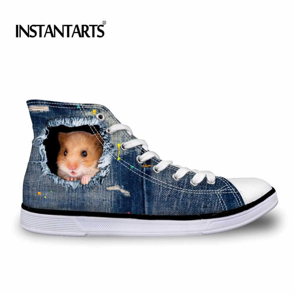 INSTANTARTS 2018 New Fashion Women High Top Canvas Sneakers Shoes Womens Denim Ankle Lace Up Ladies Cute Hamster Vulcanize Shoe
