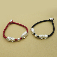 S925 sterling silver pearl s999 mink couple hand braided red rope bracelet