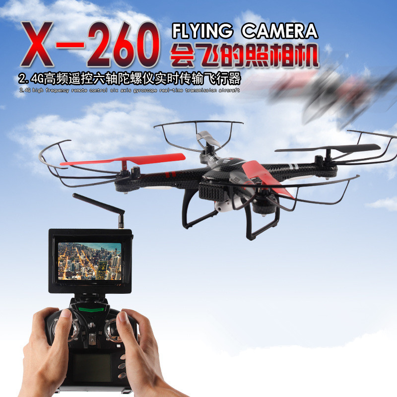 New RC Helicopter Toys X260 5.G FPV monitor RC Drones 4CH 6-Axis Gyro Headless Mode Automatic Return RC Quadcopter add HD camera q929 mini drone headless mode ddrones 6 axis gyro quadrocopter 2 4ghz 4ch dron one key return rc helicopter aircraft toys