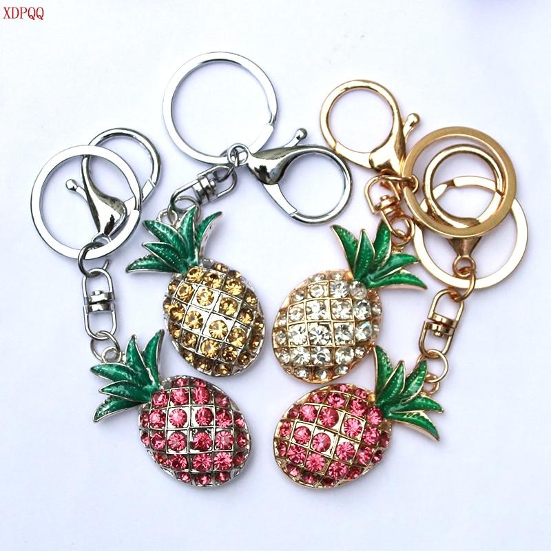 Pineapple Key Ring Crystal Rhinestone Car Keychains Ladies Bag Jewelry Men's Belt Buckle Fashion Charm Key Chain XDPQQ Brand