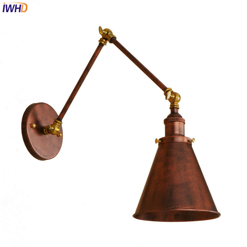 IWHD Long Arm Vintage Wall Lamps LED Wandlamp Retro Wall Lights Style Loft Industrial Wall Sconces Appliques pared glass arm long light retro wooden wall lights led edison style loft industrial wall sconce vintage wandlamp appliques pared
