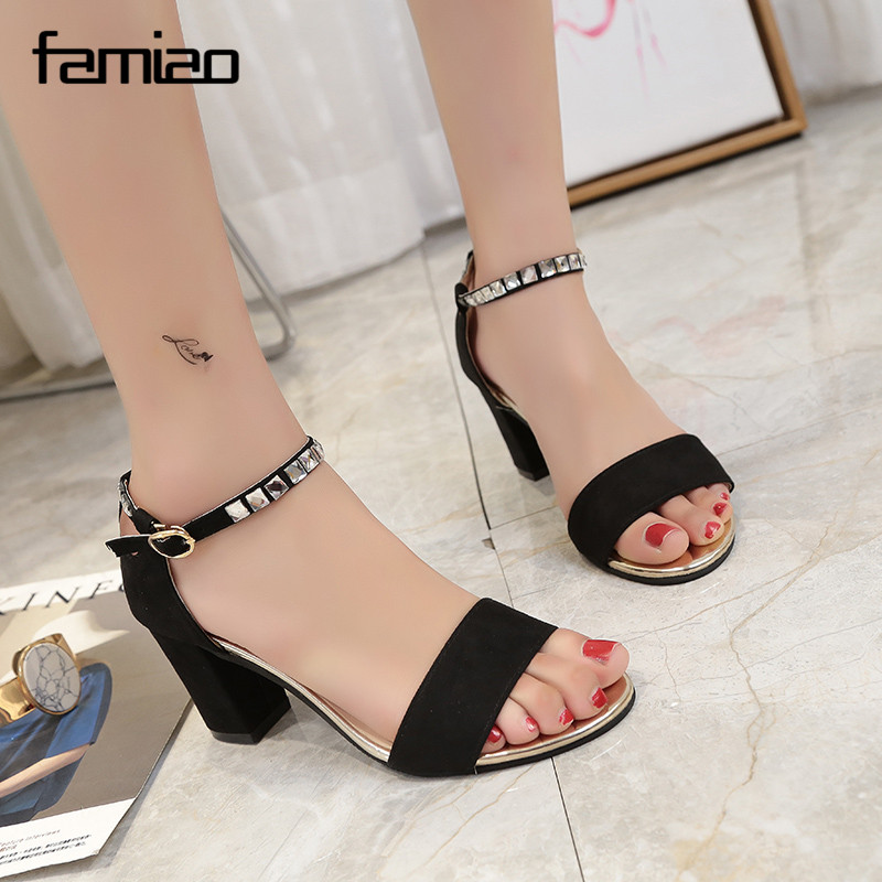 women sandals zapatos mujer 2017 chaussure femme talon sexy mature party wedding shoes buckle. Black Bedroom Furniture Sets. Home Design Ideas