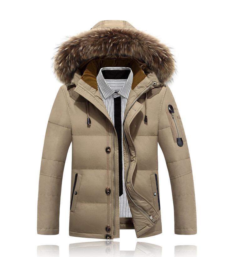 Men s Winter Jacket British Slim Hooded Fur Coat Jacket Down Jacket Men Duck Thick Cleanse