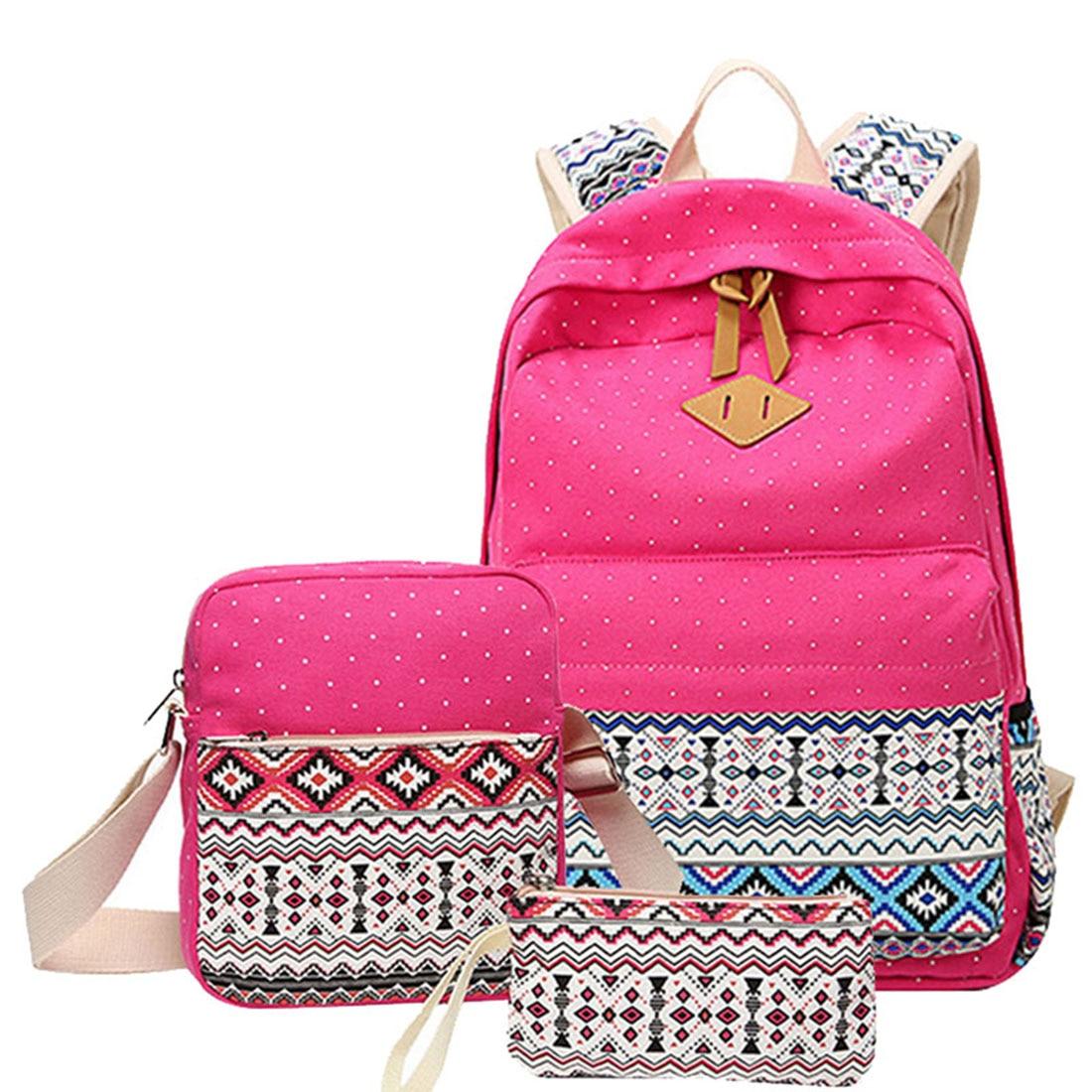 086bd6c7184 US $8.26 |3 pcs/set Canvas Printing Backpack Women School Backpacks Bag for  Teenage Girls Vintage Laptop Rucksack Bagpack Female Schoolbag-in ...