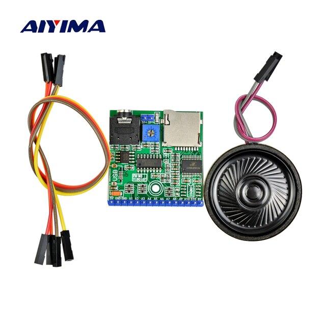 Aiyima MP3 Module Vocal SD/TF Diffusion Vocale Déclencheur Lecteur + Haut-Parleur pour MCU SMC
