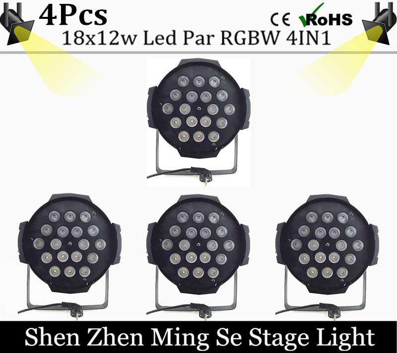 4pcs /lots 18x12w led Par lights RGBW 4in1led dmx512 disco lights professional stage dj equipment fast russia shipping 7x12w led par lights rgbw 4in1 flat par led dmx512 disco lights professional stage dj equipment