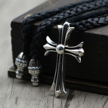 Personality Retro Cross Pendant Couple Cowhide Rope Sweater Chain S925 Sterling Silver Jewelry Punk Wind Necklace