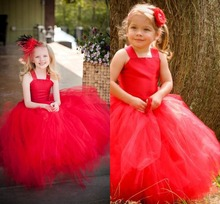 Puffy 2016 Schöne Ballkleid erstkommunion kleider für mädchen kinder abendkleider Rote blume mädchen kleider für hochzeiten