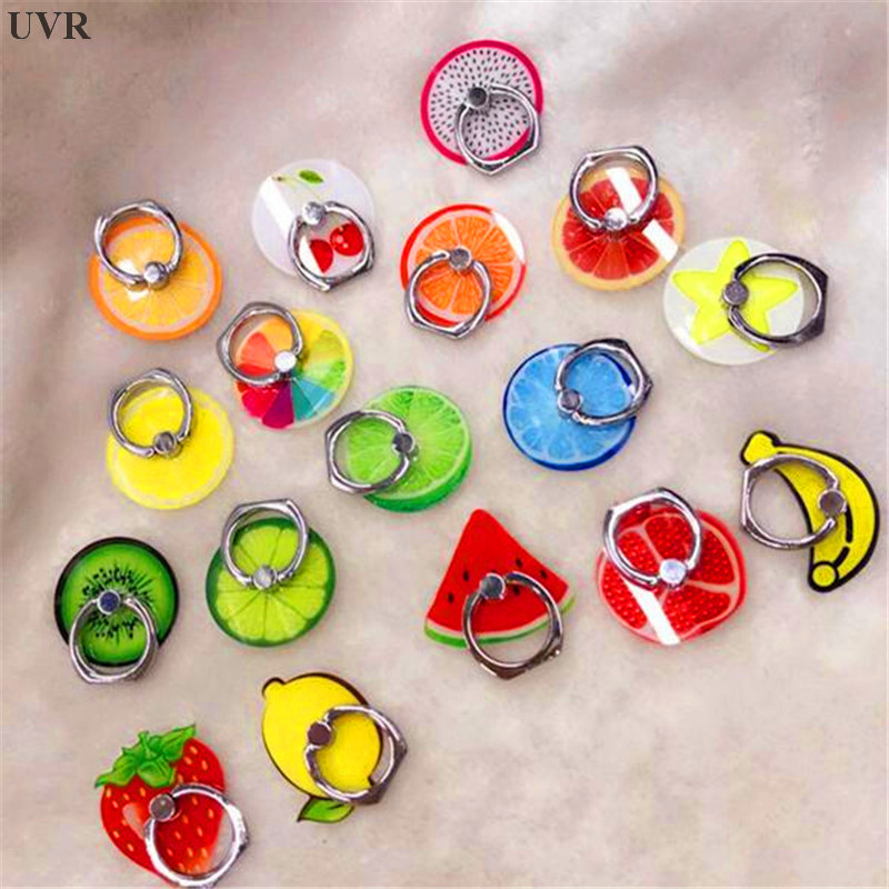 UVR 360 Degree Fruits Finger Ring Smartphone Stand Holder Mobile Phone Holder Stand For IPhone Acrylic All Smart Phone