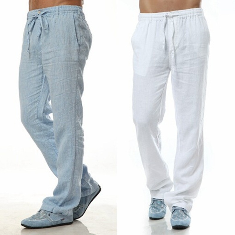 Compare Prices on Mens Linen Cotton Pants Loose Straight Bottom ...