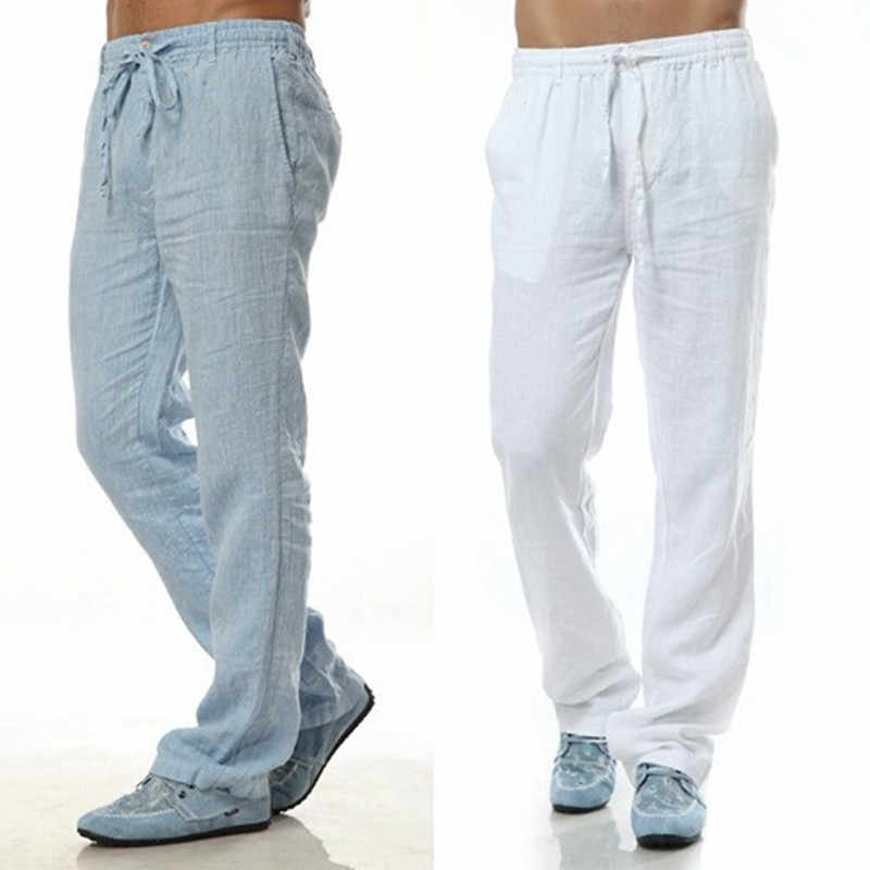 563a449788 2018 Summer Leisure Trousers 6 Colors 100% Linen Cotton Elastic Waist Men  Pants Regular Straight