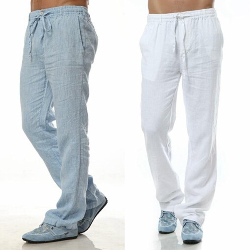 2020 Summer Leisure Trousers 6 Colors 100% Linen Cotton Elastic Waist Men Pants Regular Straight Bottom Flax Men Casual Pants