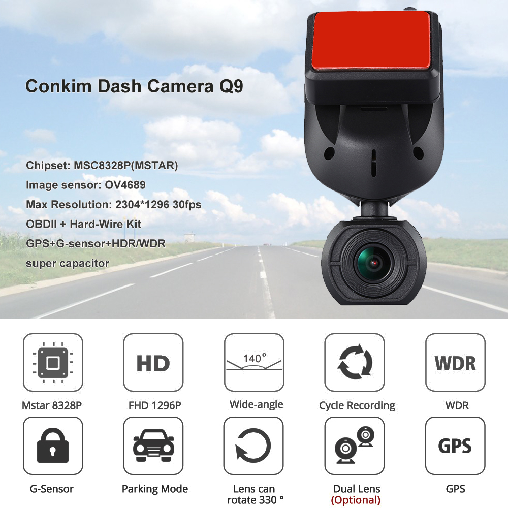 Conkim nouveau Mini Q9 HD voiture DVR 2 caméras avant 1080P + caméra de vue arrière avec Super condensateur voiture enregistreur Mode de stationnement GPS Tracker - 3